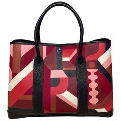 Hermes Garden Party 35 Hand Painted Geometric Print Tote