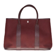 HERMES Garden Party 36 Tote in burgundy canvas and brown leather