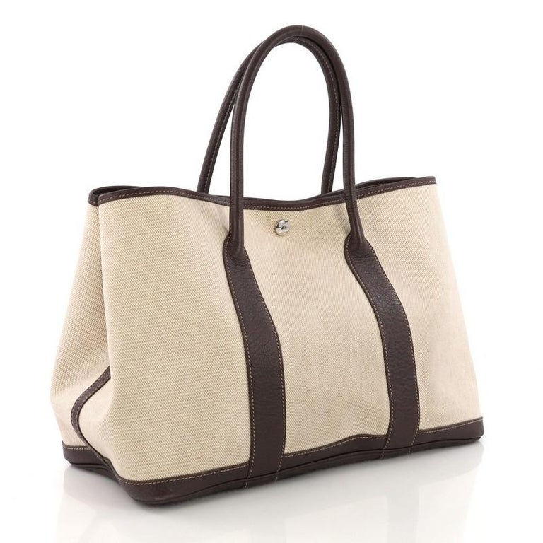 Beige Hermes Garden Party Tote Toile and Leather 36 For Sale