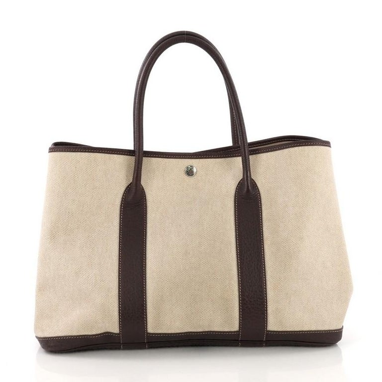 Hermes Garden Party Tote Toile and Leather 36 In Good Condition For Sale In New York, NY