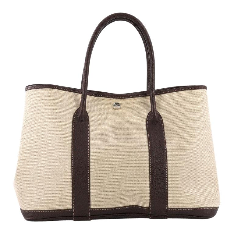 Hermes Garden Party Tote Toile and Leather 36 For Sale