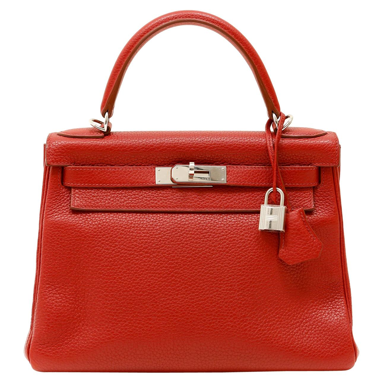 Hermès Garnet Red Togo Leather 28 cm Kelly Bag with Palladium