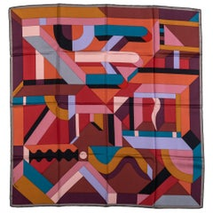 Hermes Geometric Multicolor Silk Scarf