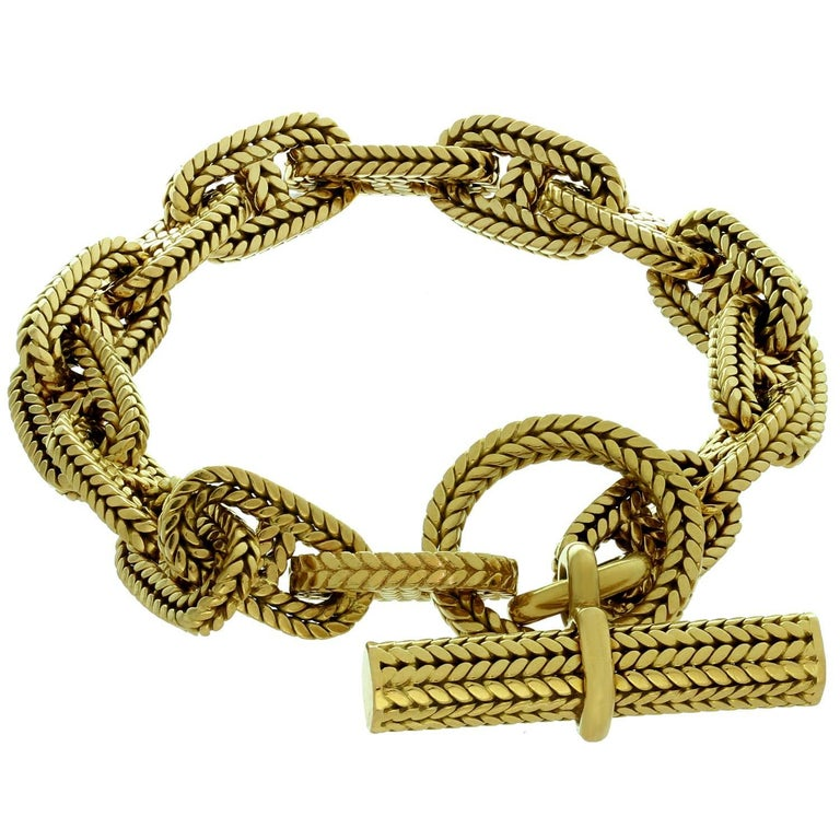 Hermès George L'Enfant Chain d'Ancre 18 Karat Yellow Gold Medium Bracelet