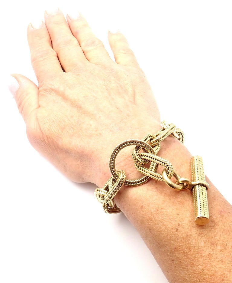 Hermes George L'Enfant Chain d'Ancre Yellow Gold Link Toggle Bracelet For Sale 6