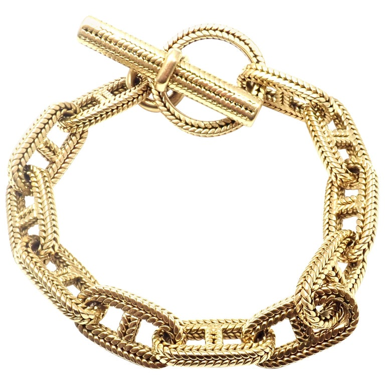 Hermes George L'Enfant Chain d'Ancre Yellow Gold Link Toggle Bracelet For Sale