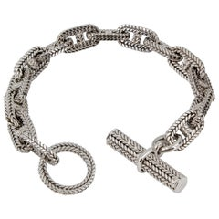 Hermès George L'Enfant White Gold Chaine D' Ancre Tresse Braided Link Bracelet