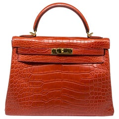Hermès Geranium Matte Alligator 32cm Kelly Retourne Bag
