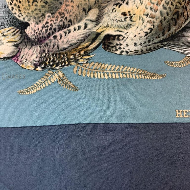 HERMES 'Gibier' Vintage Scarf in Green and Gray Silk For Sale 2