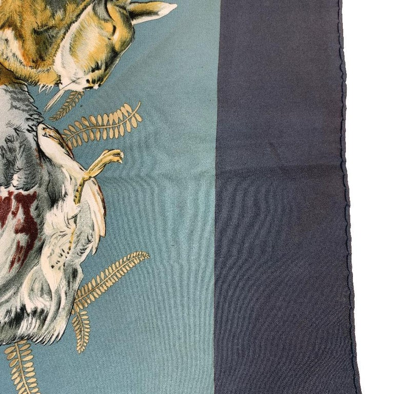 HERMES 'Gibier' Vintage Scarf in Green and Gray Silk For Sale 3