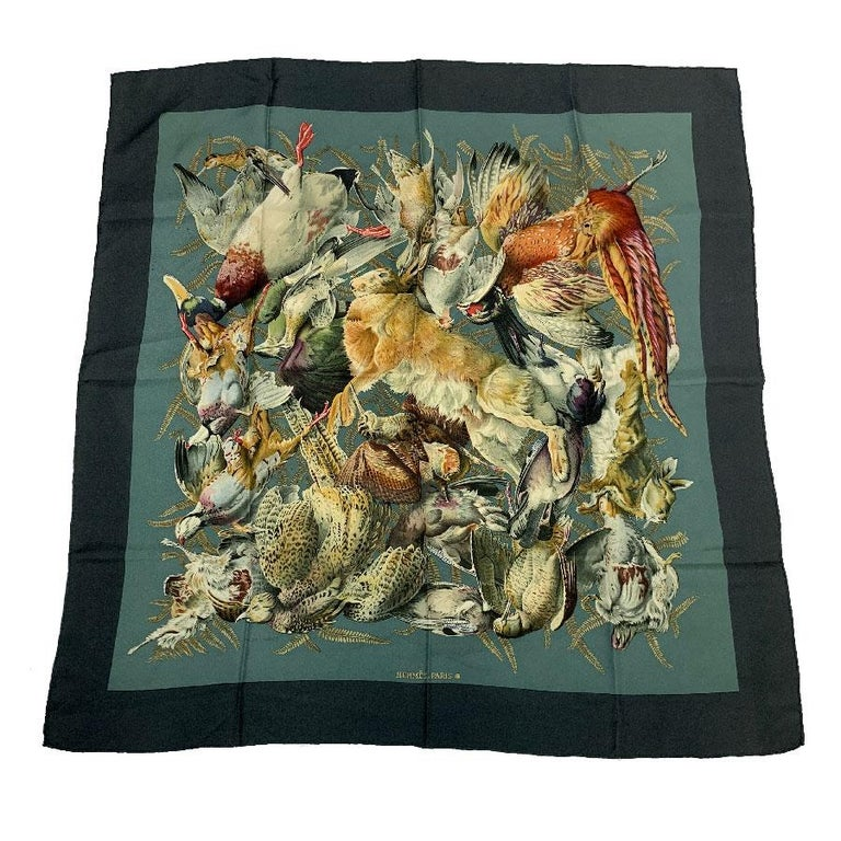 HERMES 'Gibier' Vintage Scarf in Green and Gray Silk For Sale