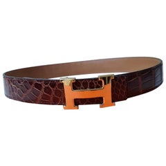 Hermes Glazed Brown Crocodile  Leather Belt