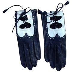 Hermès Gloves Dark Blue and White Leather Gloves Ghillies Size 6/7