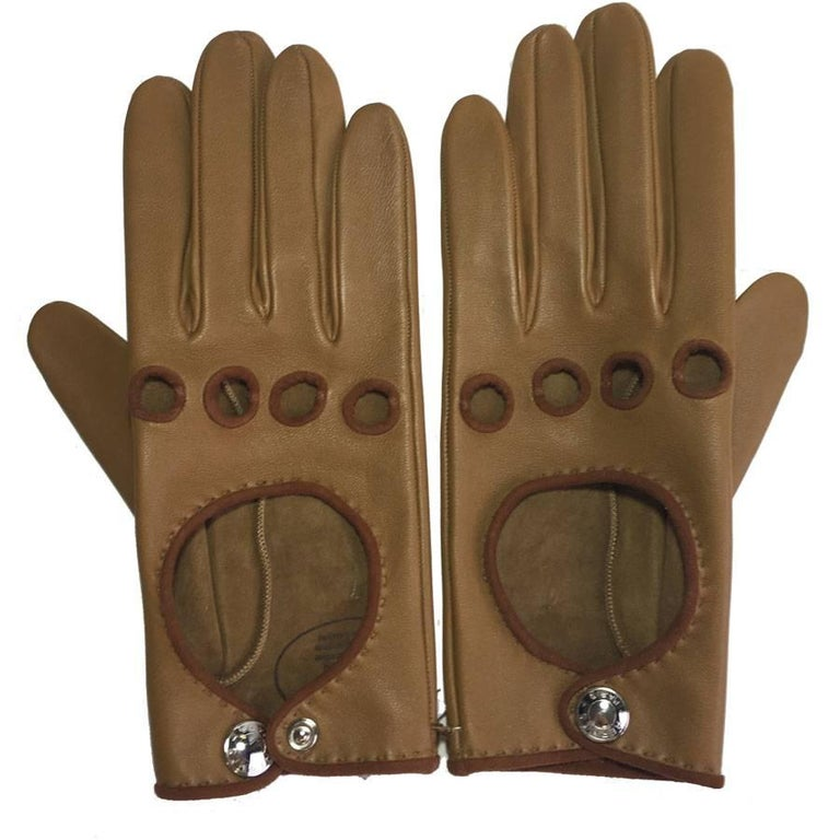 HERMES Gloves in Glossy Kraft and Cognac Lamb Leather Size 7