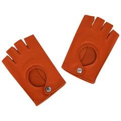 Hermes Gloves Orange Clou De Selle Driving Kidskin / Lambskin Leather New