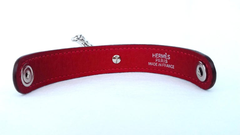 Hermès Gloves Ring Gloves Holder Key Holder Rouge Red Leather Silver Tone Hdw For Sale 7