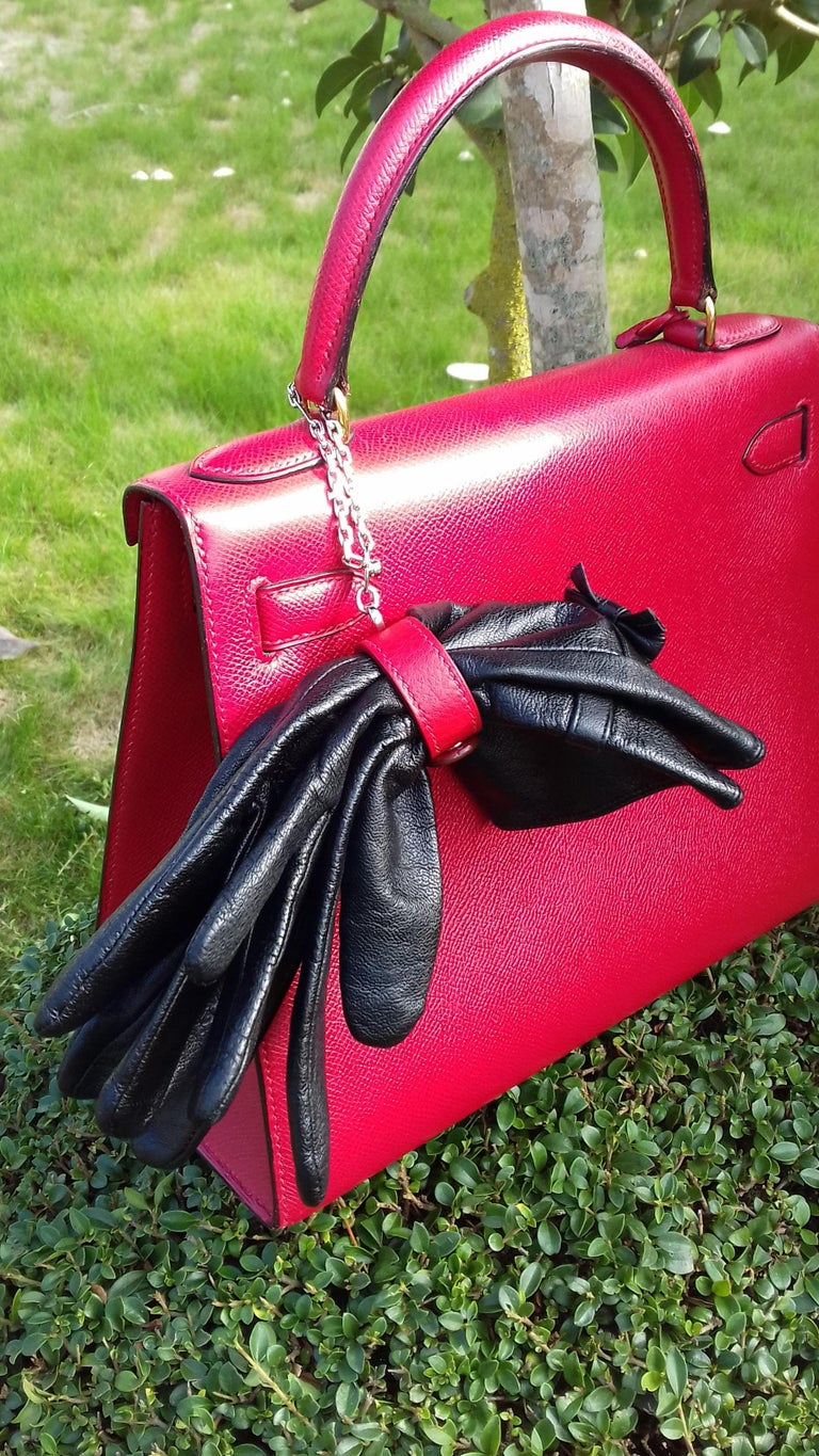 Hermès Gloves Ring Gloves Holder Key Holder Rouge Red Leather Silver Tone Hdw For Sale 12