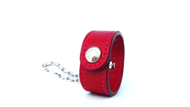 Women's Hermès Gloves Ring Gloves Holder Key Holder Rouge Red Leather Silver Tone Hdw For Sale