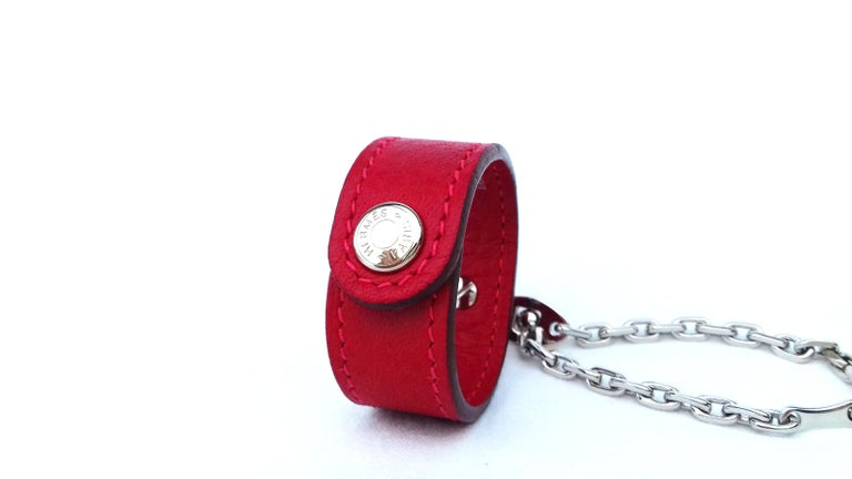 Hermès Gloves Ring Gloves Holder Key Holder Rouge Red Leather Silver Tone Hdw For Sale 1