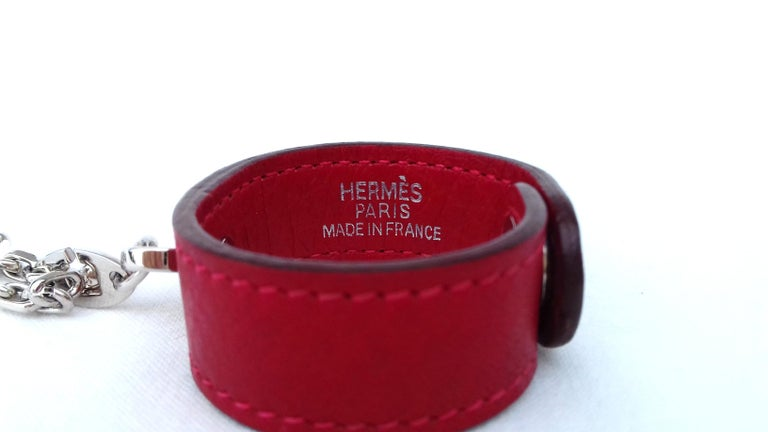 Hermès Gloves Ring Gloves Holder Key Holder Rouge Red Leather Silver Tone Hdw For Sale 2