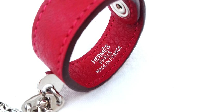 Hermès Gloves Ring Gloves Holder Key Holder Rouge Red Leather Silver Tone Hdw For Sale 3