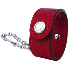 Hermès Gloves Ring Gloves Holder Key Holder Rouge Red Leather Silver Tone Hdw