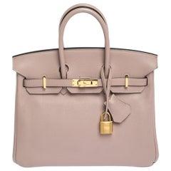 Hermes Glycine Evercolor Leather Gold Hardware Birkin 25 Bag