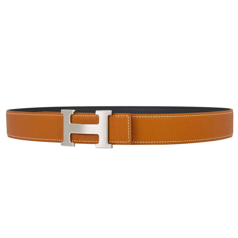 Hermes Gold and Black Reversible H 32mm Belt Kit Silver Buckle 85cm Brand New in Box.  Store Fresh.  Pristine Condition. Perfect gift!  Belt kit comes in full set with reversible black and gold belt strap, silver buckle, Hermes dust bag for belt