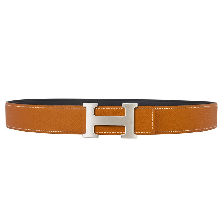 Hermes Gold and Black Reversible Two Colors 32mm H Belt Kit Silver Buckle 85cm In New Condition For Sale In New York, NY