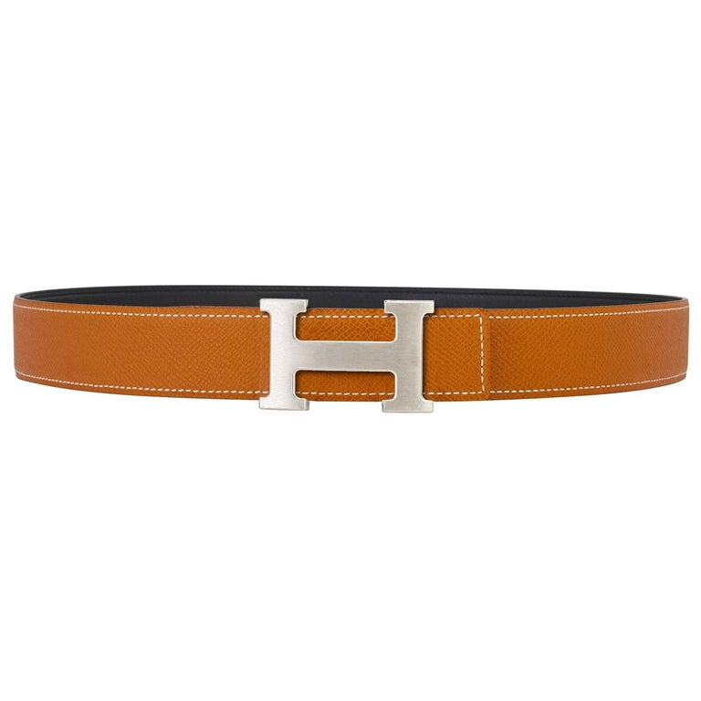 Hermes Gold and Black Reversible Two Colors 32mm H Belt Kit Silver Buckle 85cm For Sale