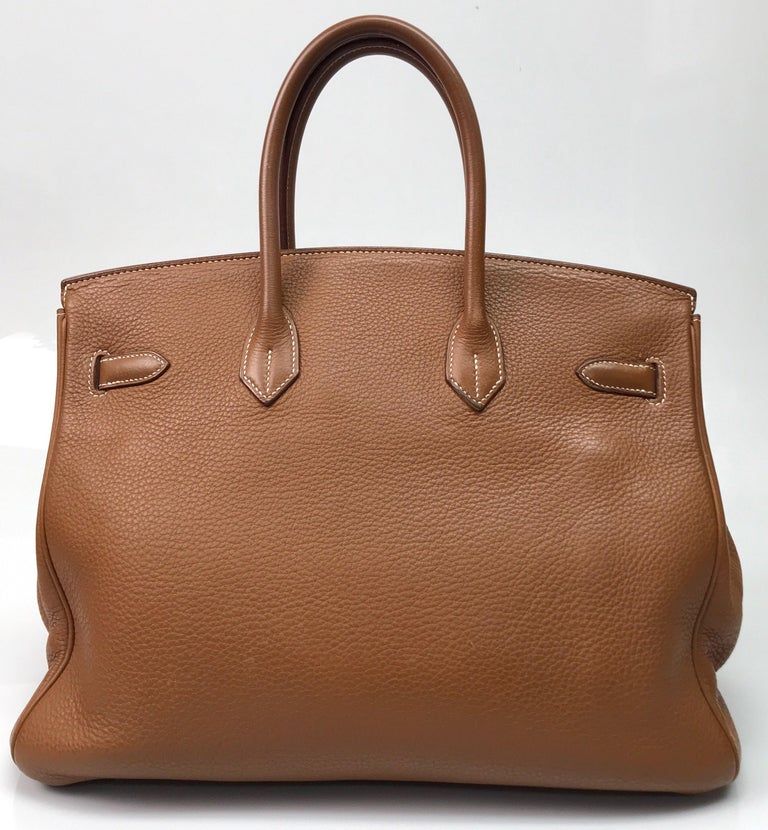 Brown Hermes Gold Birkin PHW 35cm For Sale