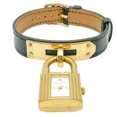 Hermès Gold & Black Leather Kelly Watch 2000