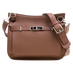 Hermes Gold/Bordeaux Clemence Leather Jypsiere 28 Bag