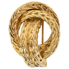 Hermès Gold Braided Knot Brooch