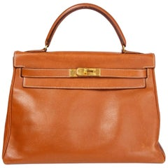 HERMES Gold camel Courchevel leather & Gold KELLY II 35 RETOURNER Bag