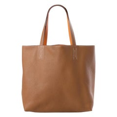 HERMES Gold camel & orange Clemence leather DOUBLE SENS 36 Tote Bag