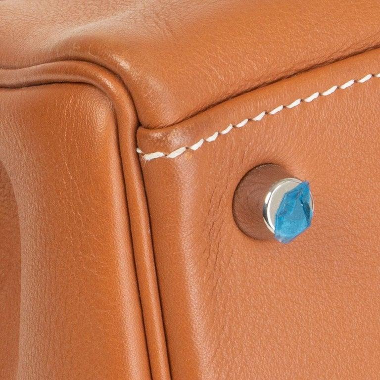 HERMES Gold camel Swift leather KELLY 32 RETOURNE Bag For Sale 6