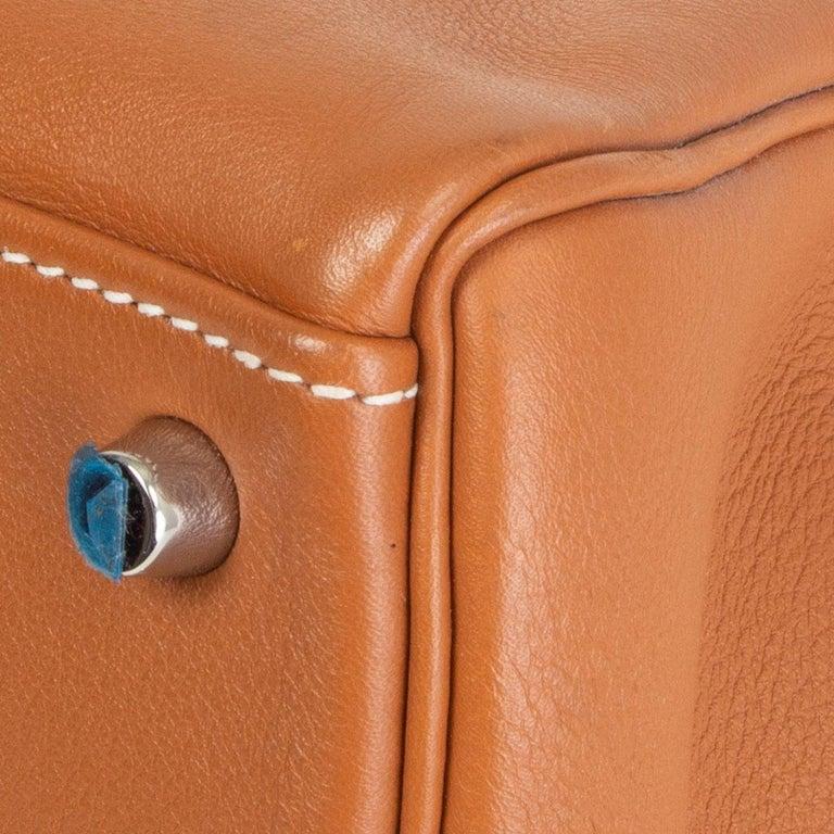HERMES Gold camel Swift leather KELLY 32 RETOURNE Bag For Sale 7