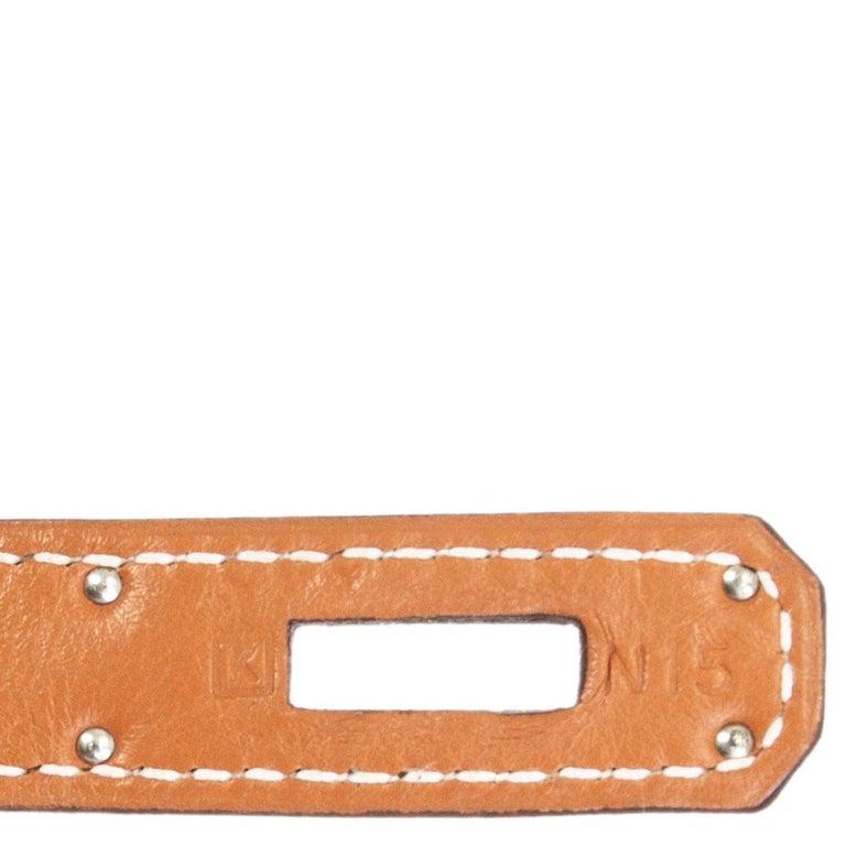 HERMES Gold camel Swift leather KELLY 32 RETOURNE Bag For Sale 8