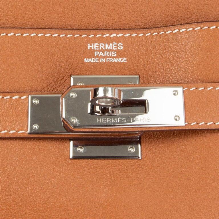 HERMES Gold camel Swift leather KELLY 32 RETOURNE Bag For Sale 1