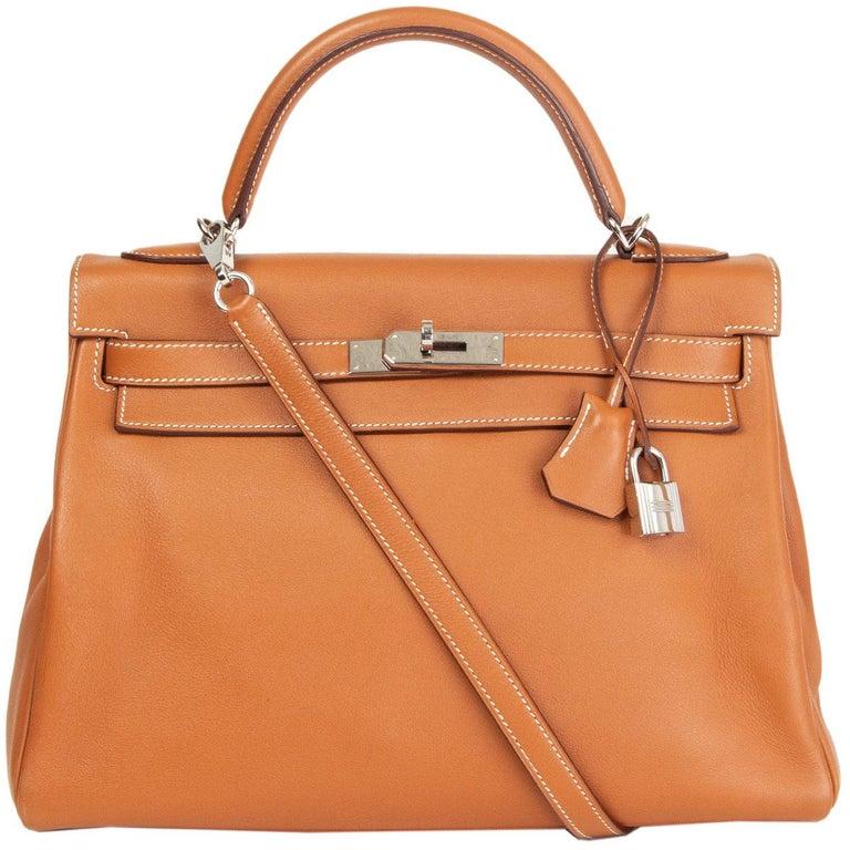 HERMES Gold camel Swift leather KELLY 32 RETOURNE Bag For Sale 2
