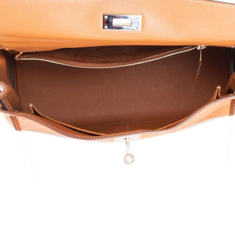 HERMES Gold camel Swift leather KELLY 32 RETOURNE Bag For Sale 3
