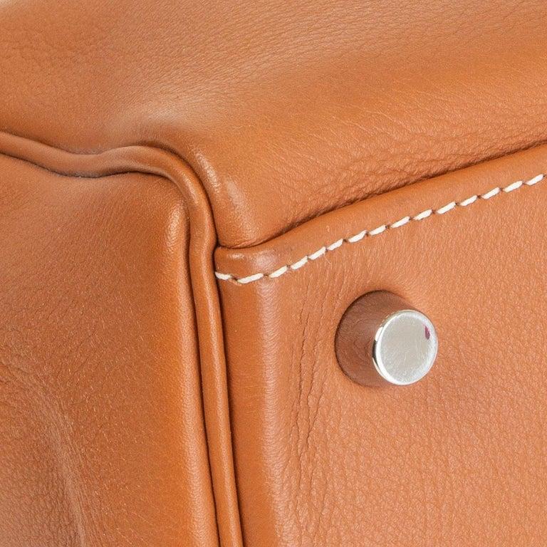 HERMES Gold camel Swift leather KELLY 32 RETOURNE Bag For Sale 4