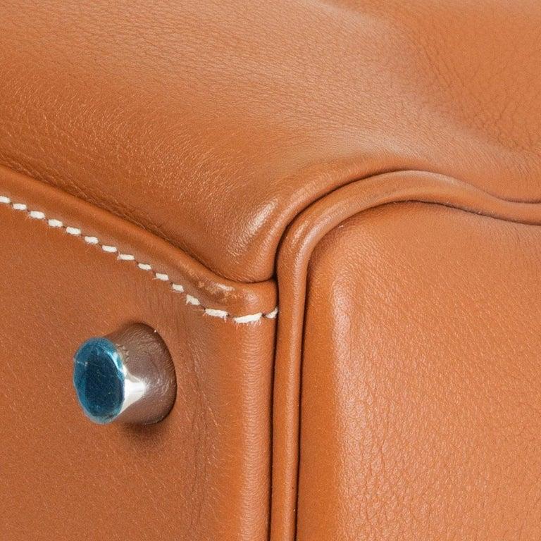HERMES Gold camel Swift leather KELLY 32 RETOURNE Bag For Sale 5