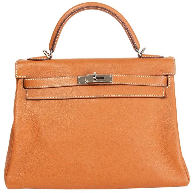HERMES Gold camel Swift leather KELLY 32 RETOURNE Bag For Sale
