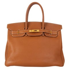 HERMES Gold camel Togo leather & Gold BIRKIN 35 Bag
