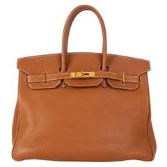 HERMES Gold camel Togo leather & Gold BIRKIN 35 Bag