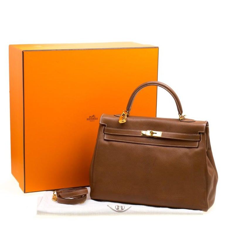 Hermes Gold Chevre de Coromandel Leather Gold Hardware Kelly Retourne 35  Bag For Sale 3 3cb0237d6572e