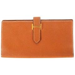 HERMES Gold cognac brown Epsom leather BEARN Wallet