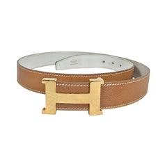 Hermes Gold Constance H Buckle and Tan Cream Belt Vintage 1970s